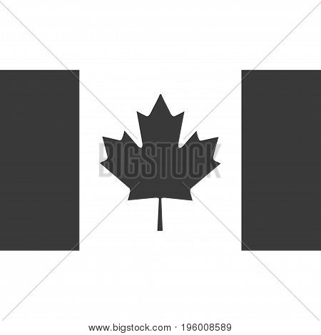 Grey Canada flag isolated on white background. Gray maple leaf on a white background