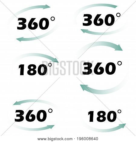 Rotation by 360 degrees in a circle arrows. Rotate 180 degrees