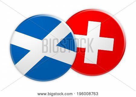 News Concept: Scotland Flag Button On Switzerland Flag Button 3d illustration on white background