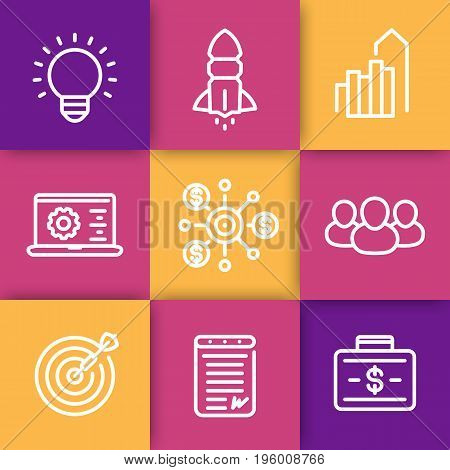 startup line icons set, idea, team, product launch, funding, initial capital, contract, target market