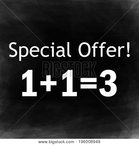 Special offer text on a black background abstract