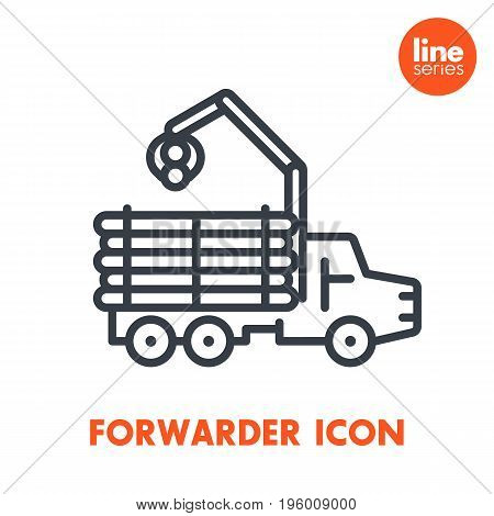 Forwarder line icon isolated over white, forestry vehicle, lorry, logging truck vector pictogram