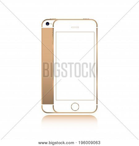 Realistic smartphone gold color phone style mockup isolated on white background. For web element and application mockup
