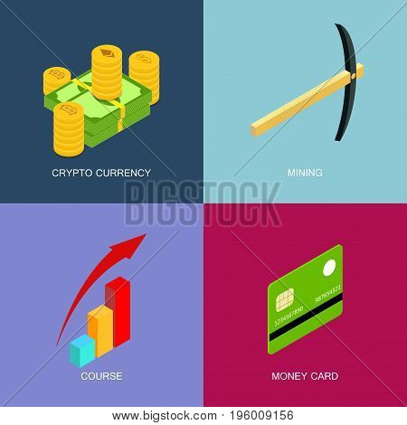 Mining of crypto-currency, isometric set of icons