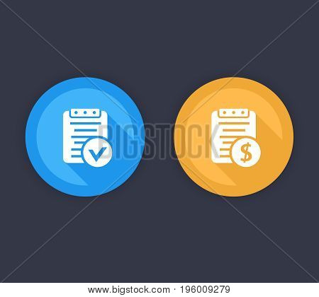 Payroll, bill flat icons, blue and yellow, eps 10 file, easy to edit