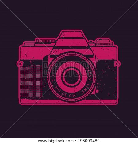 Retro camera in pop-art style, vector illustration, eps 10 file, easy to edit