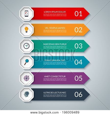 Infographic options banner. Vector layout template of 6 steps, parts. Can be used for graph, chart, diagram, step by step infographics, web design.