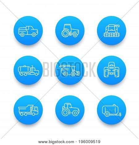 Agricultural machinery line icons set, tractor, milk truck, pickup car, harvester, combine machine, agrimotor