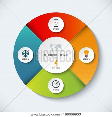 Infographic circle. Vector options banner with 4 steps, parts, pieces. Can be used for cycle diagram, round chart, graph, report
