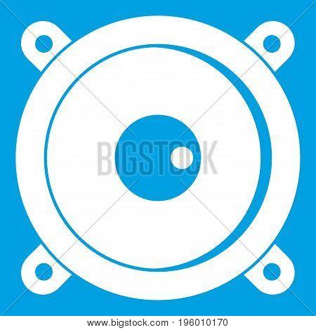 Audio speaker icon white isolated on blue background vector illustration