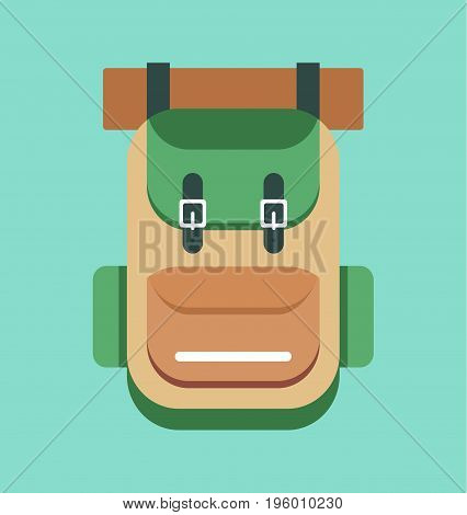 Camping backpack sign. Retro backpack. Vector stock.