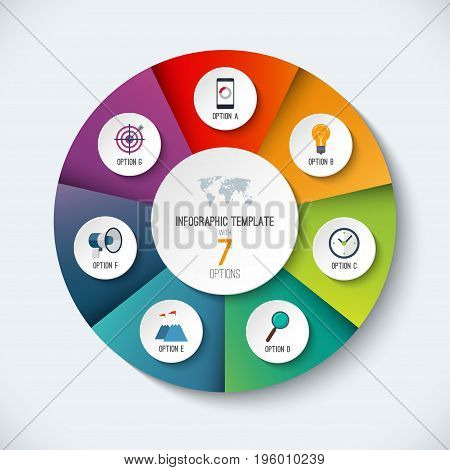Infographic circle. Vector options banner with 7 steps, parts, pieces. Can be used for cycle diagram, round chart, graph, report