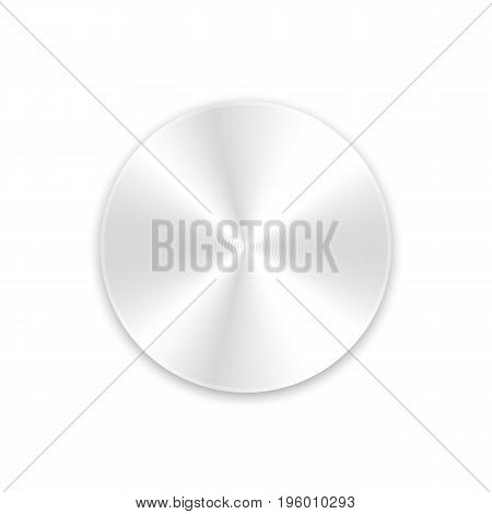 Metal round button with shadow on white background. Vector illustration.