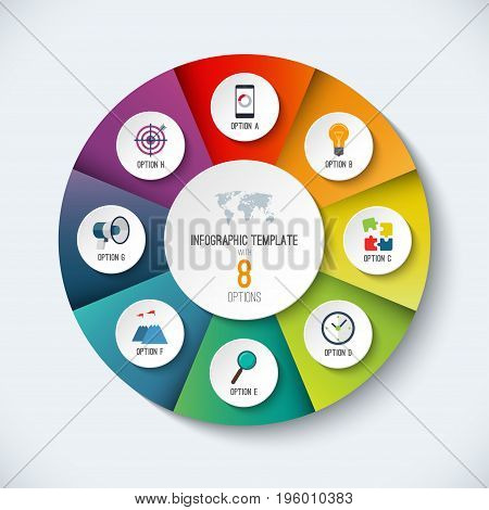 Infographic circle. Vector options banner with 8 steps, parts, pieces. Can be used for cycle diagram, round chart, graph, report