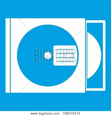 CD box with disc icon white isolated on blue background vector illustration