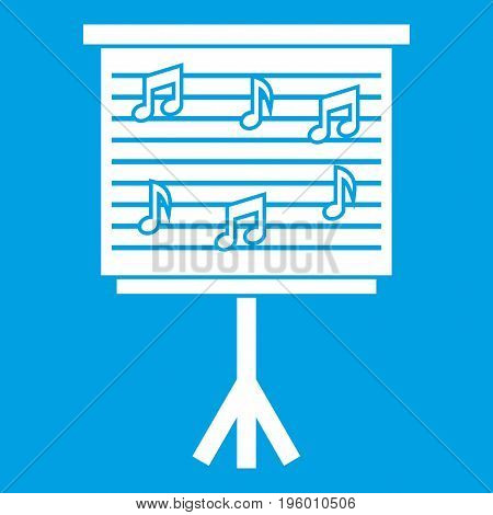Whiteboard with music notes icon white isolated on blue background vector illustration
