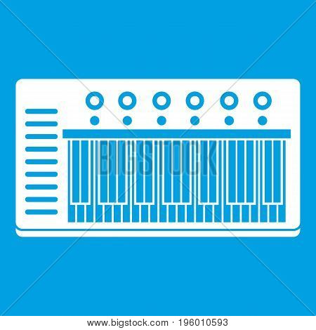 Electronic synth icon white isolated on blue background vector illustration