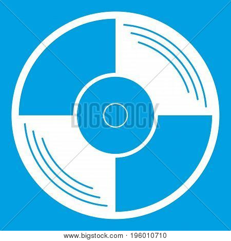 Vinyl record icon white isolated on blue background vector illustration