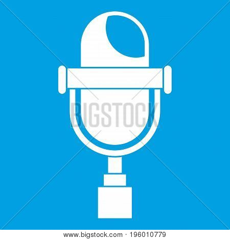 Retro microphone icon white isolated on blue background vector illustration