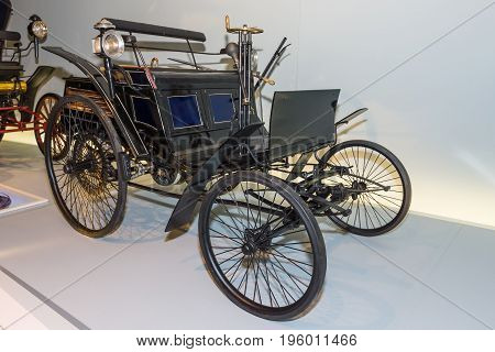 STUTTGART GERMANY- MARCH 19 2016: Benz Motor Velocipede also known as Velo 1884. Mercedes-Benz Museum.