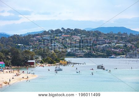 Downtown Merimbula from Bar Beach Lookout in New South Wales, Australia
