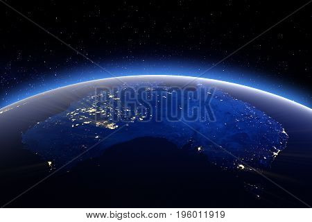 Australia. 3D Rendering. Stars my own photo. Elements of this image furnished by NASA