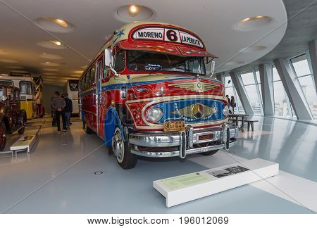 STUTTGART GERMANY- MARCH 19 2016: Vintage bus Mercedes-Benz LO 1112 Omnibus 1969. Mercedes-Benz Museum.
