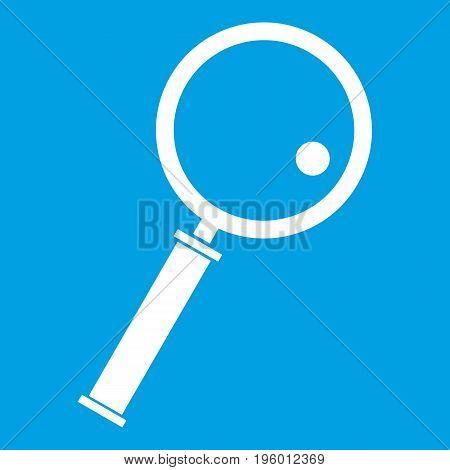 Loupe icon white isolated on blue background vector illustration