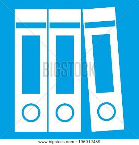 Office folders with documents icon white isolated on blue background vector illustration