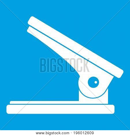 Office paper hole puncher icon white isolated on blue background vector illustration