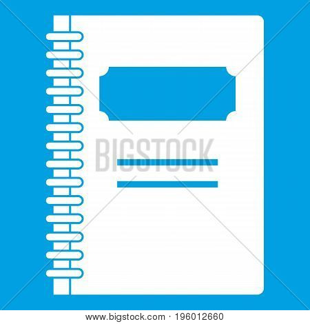 Closed spiral notebook icon white isolated on blue background vector illustration