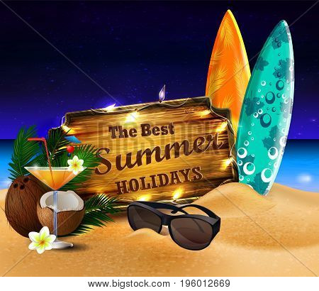 tropical vector background with summer night sky and wooden desk decorated with patio lights coconut orange beverage surfing boards and sunglasses on a sand beach