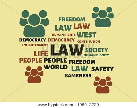 Law - Image With Words Associated With The Topic Community Of Values, Word, Image, Illustration