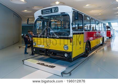 STUTTGART GERMANY- MARCH 19 2016: The standart regular-service bus Mercedes-Benz 0305 1980. Mercedes-Benz Museum.