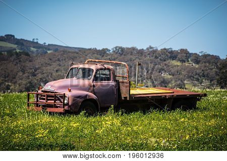 An abandoned ute is left in a field to rust near Maldon, Victoria, Australia