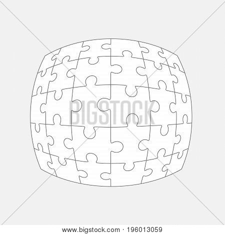 Six jigsaw puzzle parts, blank vector 6x5 pieces isolated