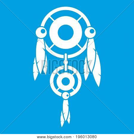 Native american dreamcatcher icon white isolated on blue background vector illustration
