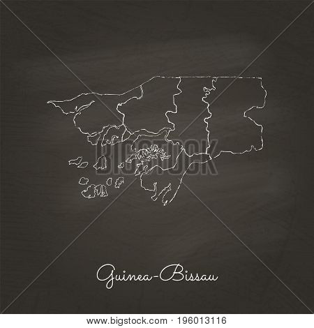 Guinea-bissau Region Map: Hand Drawn With White Chalk On School Blackboard Texture. Detailed Map Of