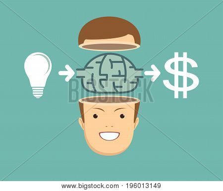businessman Creates money from the idea. Stock vector illustration for poster, greeting card, website, ad, business presentation, advertisement design.
