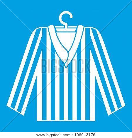 Striped pajama shirt icon white isolated on blue background vector illustration