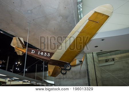 STUTTGART GERMANY- MARCH 19 2016: The lightweight aircraft Klemm-Daimler L20 1928. Mercedes-Benz Museum.