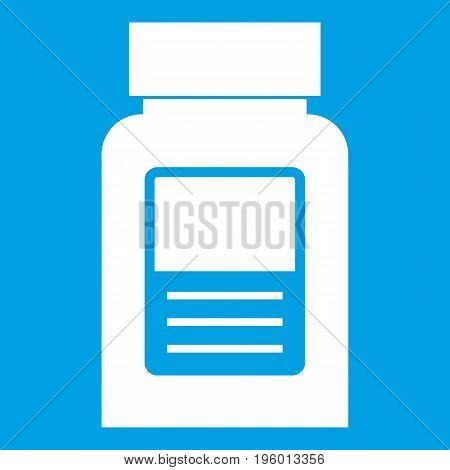 Medicine bottle icon white isolated on blue background vector illustration