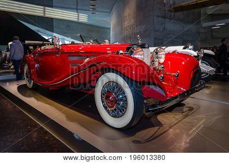 STUTTGART GERMANY- MARCH 19 2016: Luxury car Mercedes-Benz 500 K Special-Roadster (W29) 1937. Mercedes-Benz Museum.