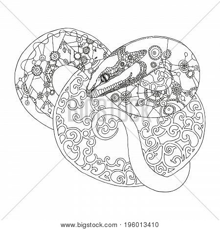 snake vector art line illustration background decoration  patterns