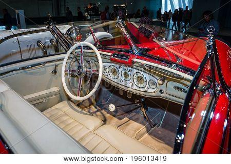 STUTTGART GERMANY- MARCH 19 2016: Cabin of luxury car Mercedes-Benz 500 K Special-Roadster (W29) 1937. Mercedes-Benz Museum.