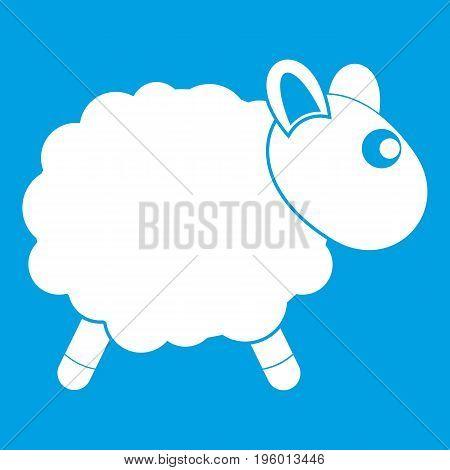 Sheep icon white isolated on blue background vector illustration