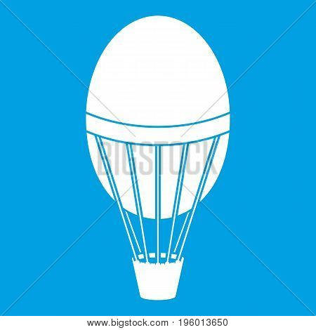 Hot air balloon icon white isolated on blue background vector illustration