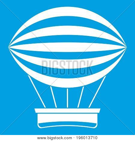 Striped retro hot air balloon icon white isolated on blue background vector illustration