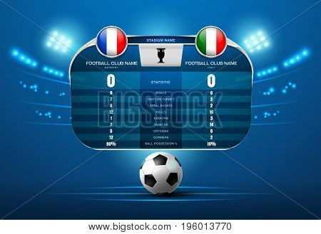 soccer football with scoreboard and spotlight vector illustration