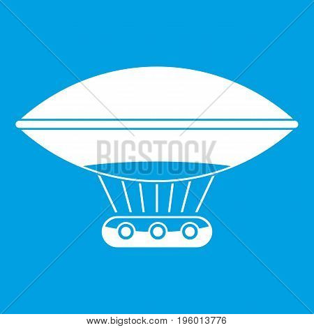 Hot air balloon with gondola basket icon white isolated on blue background vector illustration